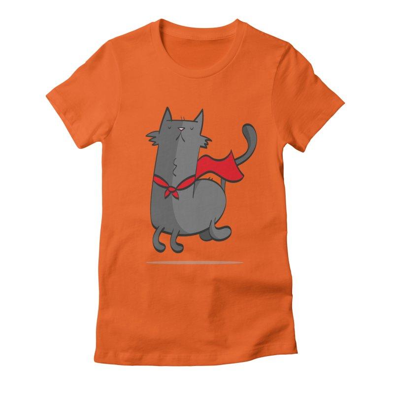Super Cat Women's Fitted T-Shirt by thiagoegg's Artist Shop