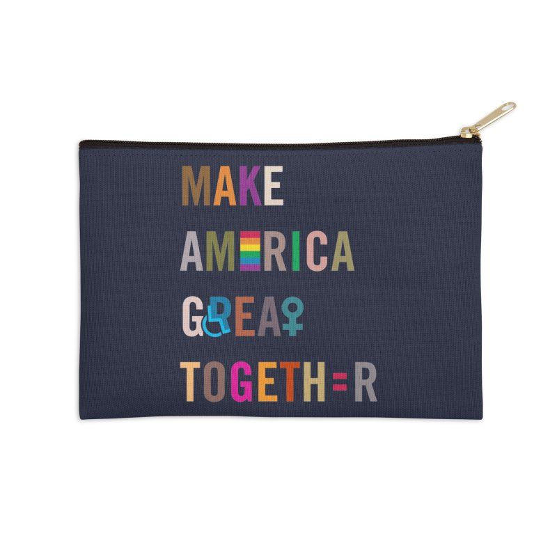 'Make America Great Together' (dark) Accessories Zip Pouch by things made good