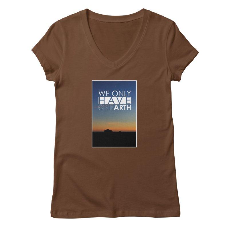 We only have one earth Women's Regular V-Neck by thinkinsidethebox's Artist Shop