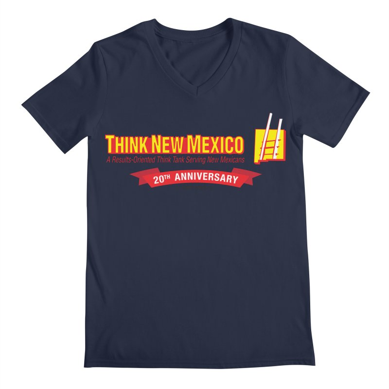 20th Anniversary Red Centered Banner Men's Regular V-Neck by Think New Mexico's Artist Shop