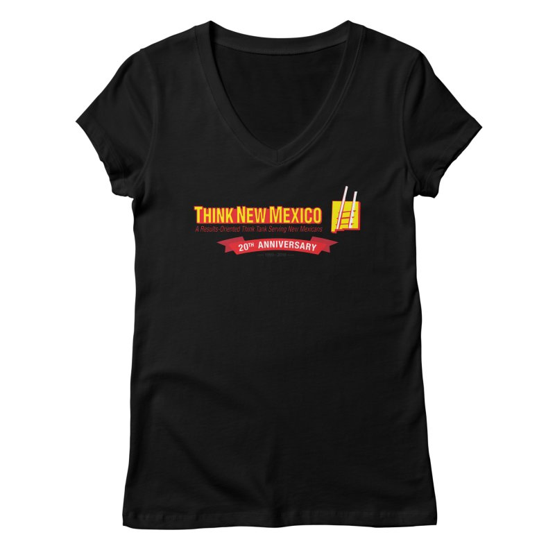 20th Anniversary Red Centered Banner Women's V-Neck by Think New Mexico's Artist Shop