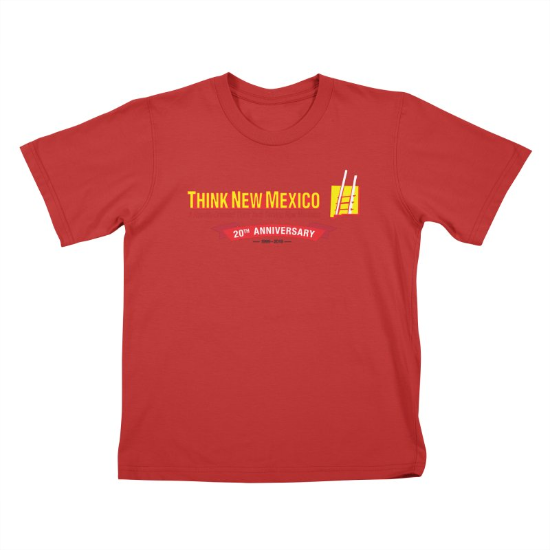 20th Anniversary Red Centered Banner Kids T-Shirt by Think New Mexico's Artist Shop