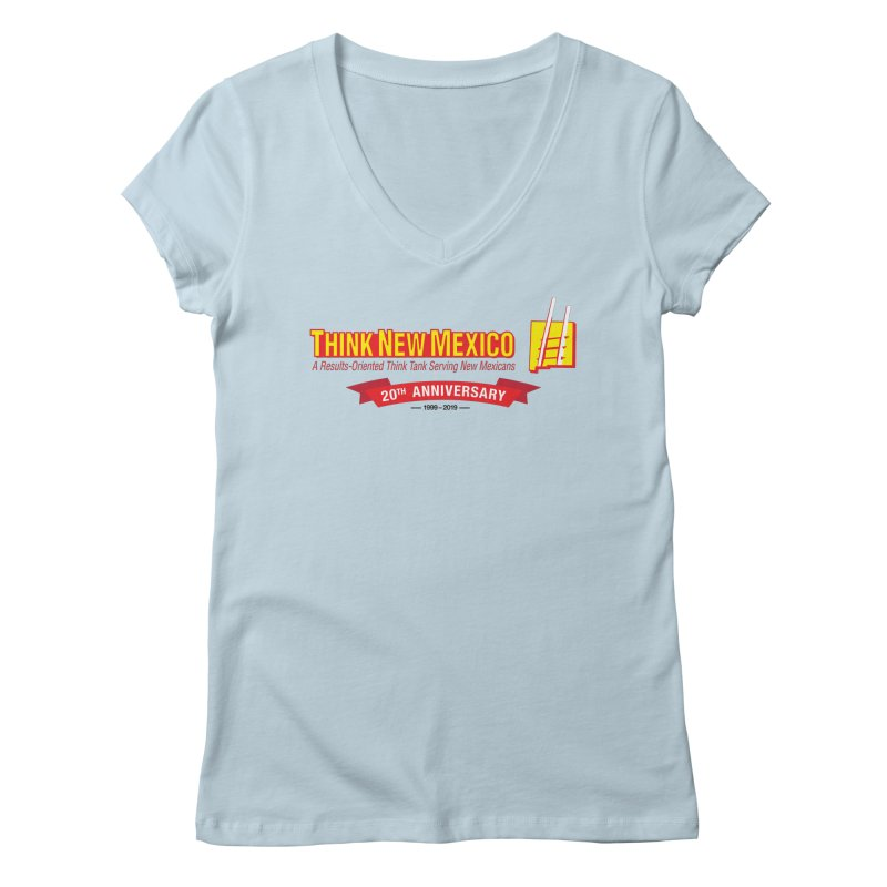 20th Anniversary Red Centered Banner Women's Regular V-Neck by Think New Mexico's Artist Shop