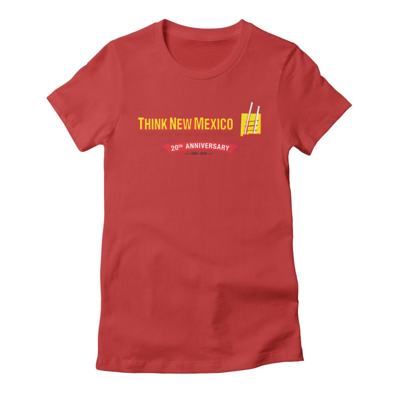 20th Anniversary Red Centered Banner Women's Fitted T-Shirt by Think New Mexico's Artist Shop