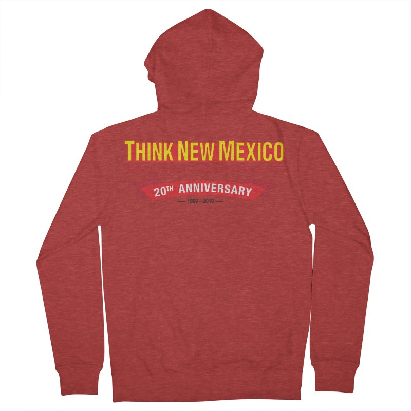 20th Anniversary Red No State Men's French Terry Zip-Up Hoody by Think New Mexico's Artist Shop