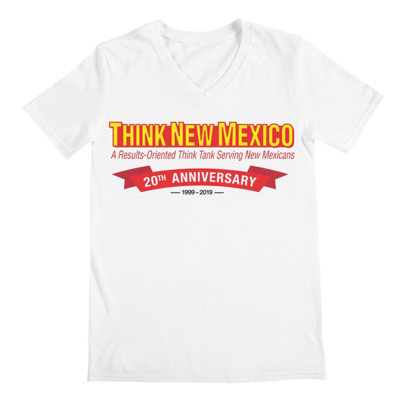 20th Anniversary Red No State Men's V-Neck by Think New Mexico's Artist Shop