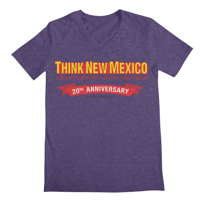 20th Anniversary Red No State Men's Regular V-Neck by Think New Mexico's Artist Shop