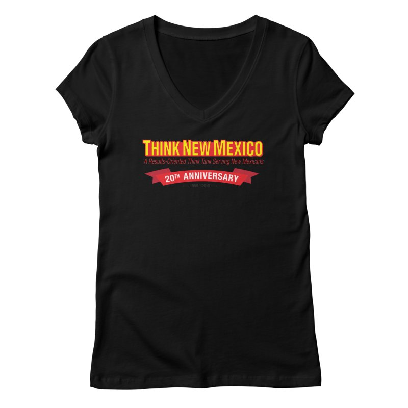 20th Anniversary Red No State Women's V-Neck by Think New Mexico's Artist Shop
