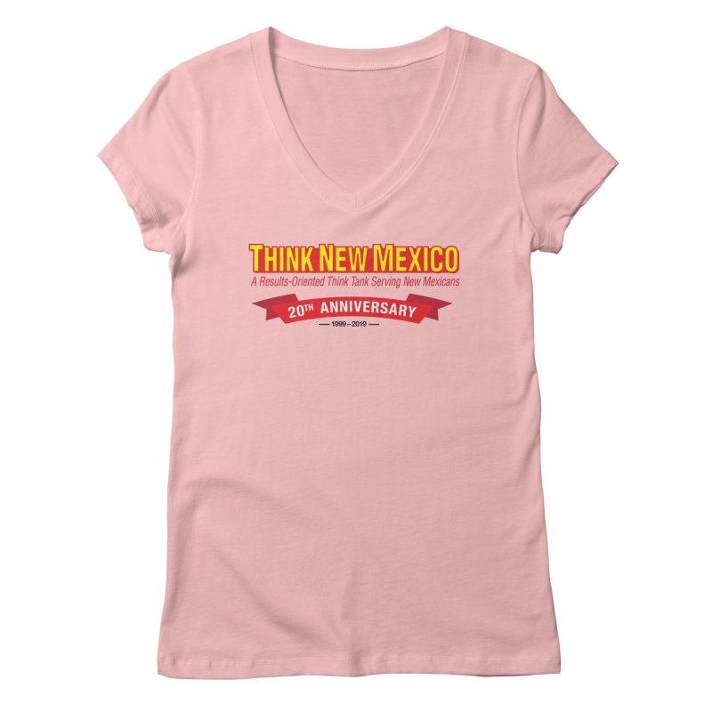 20th Anniversary Red No State Women's Regular V-Neck by Think New Mexico's Artist Shop