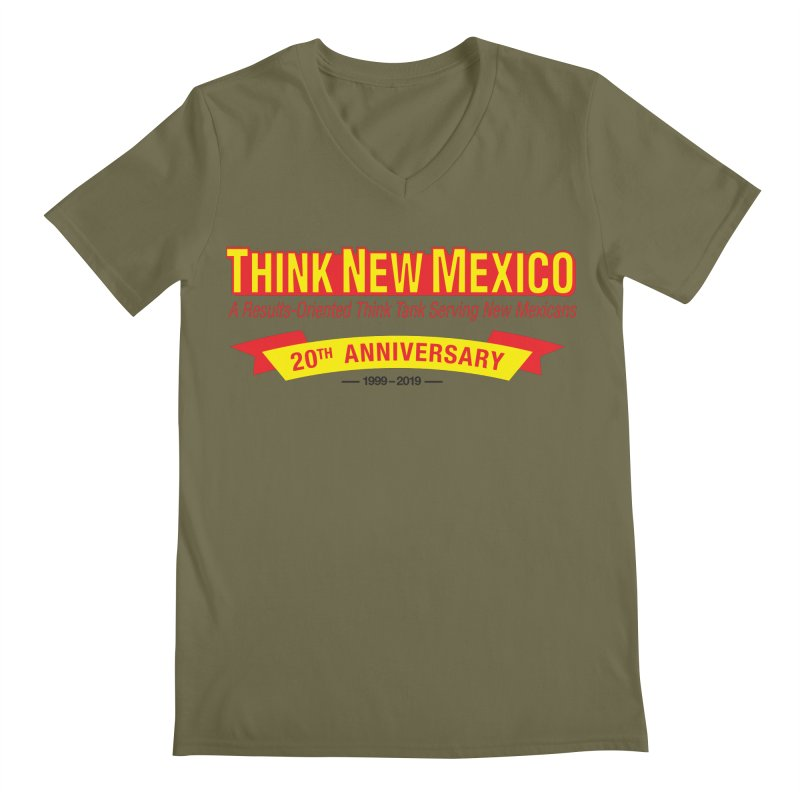20th Anniversary Yellow No State Men's Regular V-Neck by Think New Mexico's Artist Shop