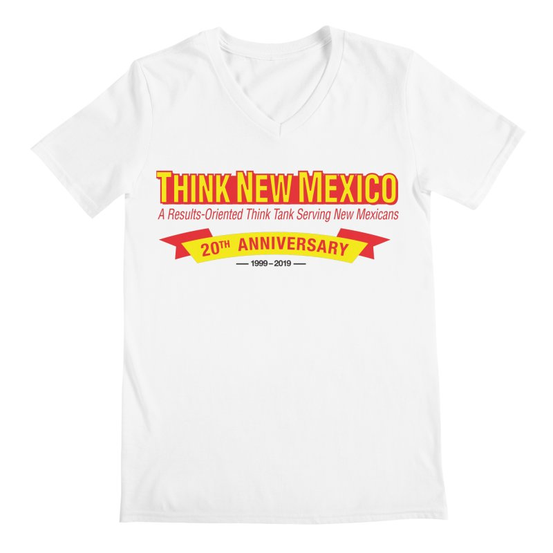 20th Anniversary Yellow No State Men's V-Neck by Think New Mexico's Artist Shop