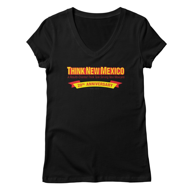20th Anniversary Yellow No State Women's V-Neck by Think New Mexico's Artist Shop