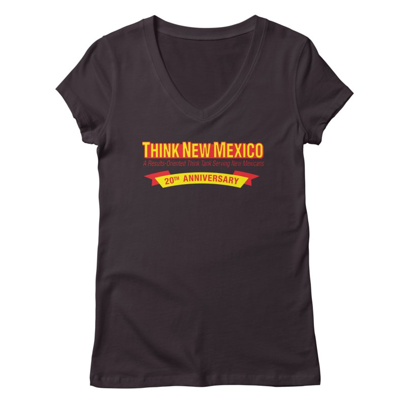 20th Anniversary Yellow No State Women's Regular V-Neck by Think New Mexico's Artist Shop