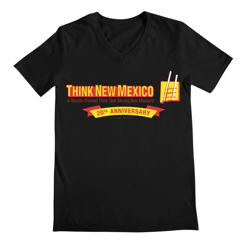 20th Anniversary Yellow Centered Banner Men's Regular V-Neck by Think New Mexico's Artist Shop