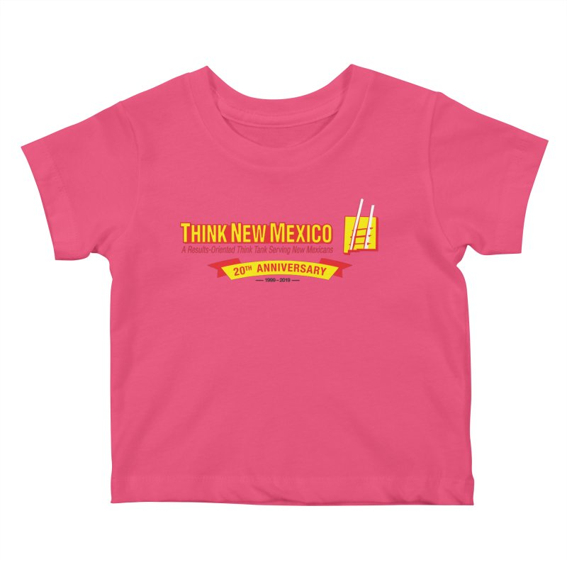 20th Anniversary Yellow Centered Banner Kids Baby T-Shirt by Think New Mexico's Artist Shop