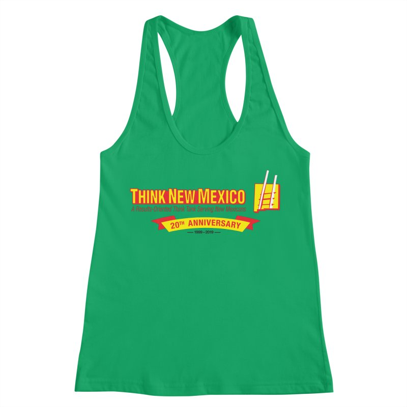 20th Anniversary Yellow Centered Banner Women's Racerback Tank by Think New Mexico's Artist Shop