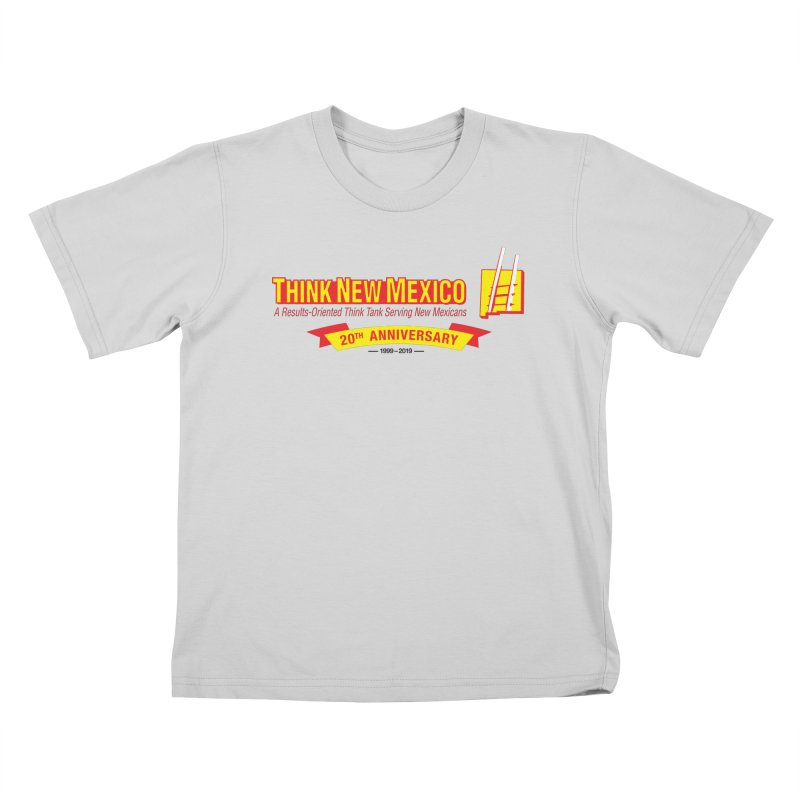 20th Anniversary Yellow Centered Banner Kids T-Shirt by Think New Mexico's Artist Shop