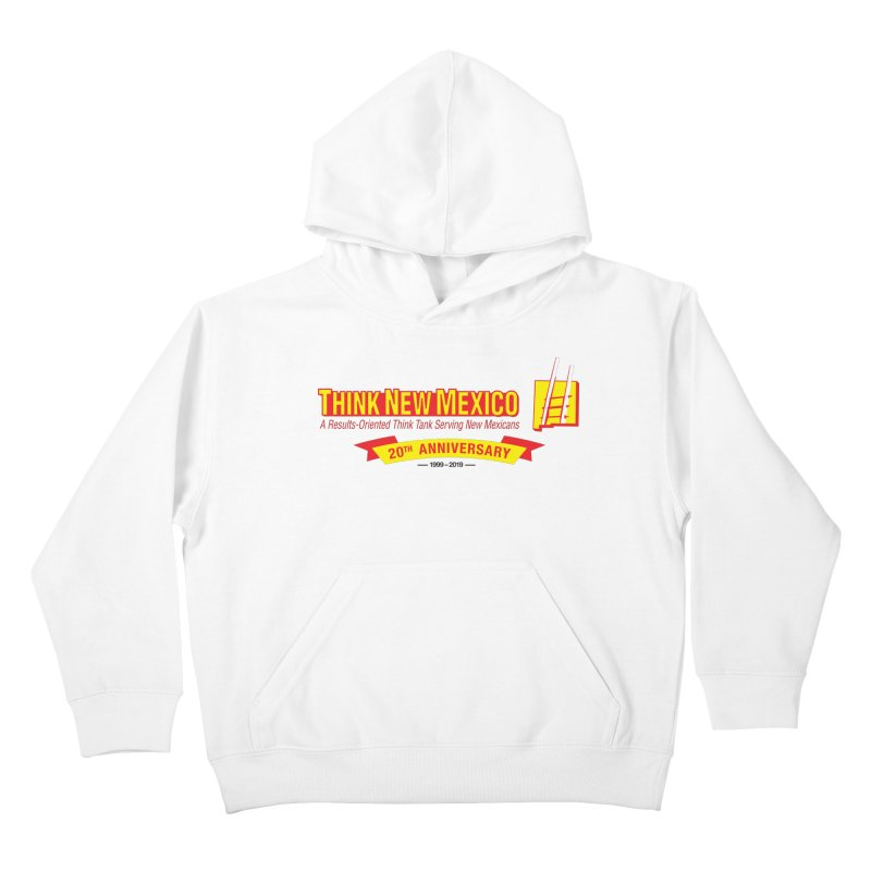 20th Anniversary Yellow Centered Banner Kids Pullover Hoody by Think New Mexico's Artist Shop