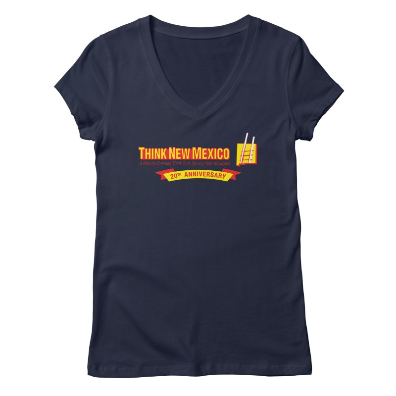 20th Anniversary Yellow Centered Banner Women's Regular V-Neck by Think New Mexico's Artist Shop