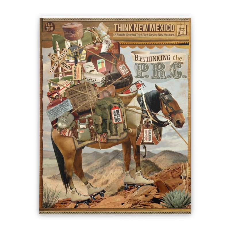 """Think New Mexico Fall 2011 Report Cover """"Rethinking the PRC"""" Home Stretched Canvas by Think New Mexico's Artist Shop"""