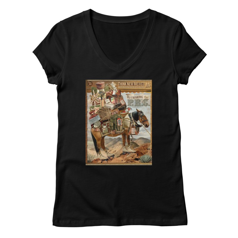 """Think New Mexico Fall 2011 Report Cover """"Rethinking the PRC"""" Women's V-Neck by Think New Mexico's Artist Shop"""