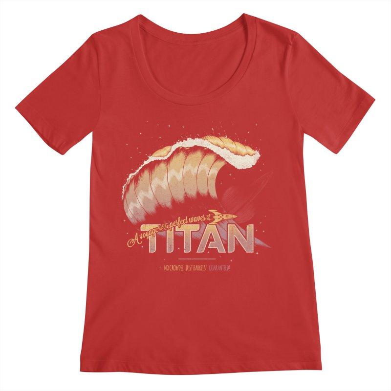 Surfing Titan Women's Regular Scoop Neck by Bálooie's Artist Shop