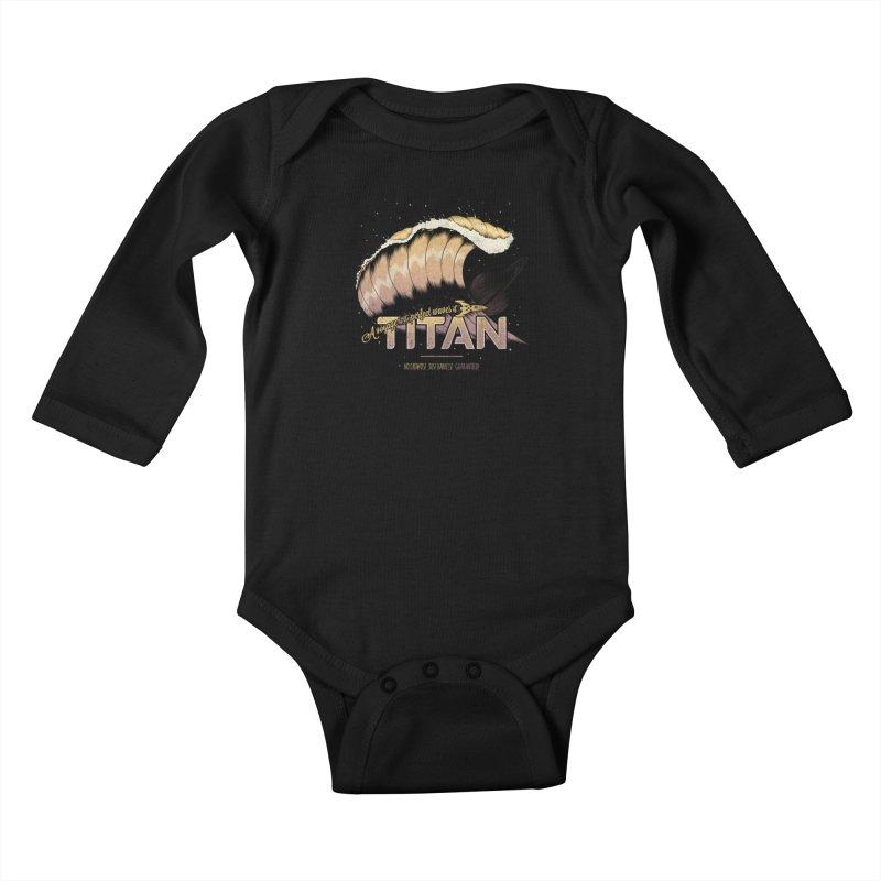Surfing Titan Kids Baby Longsleeve Bodysuit by Bálooie's Artist Shop