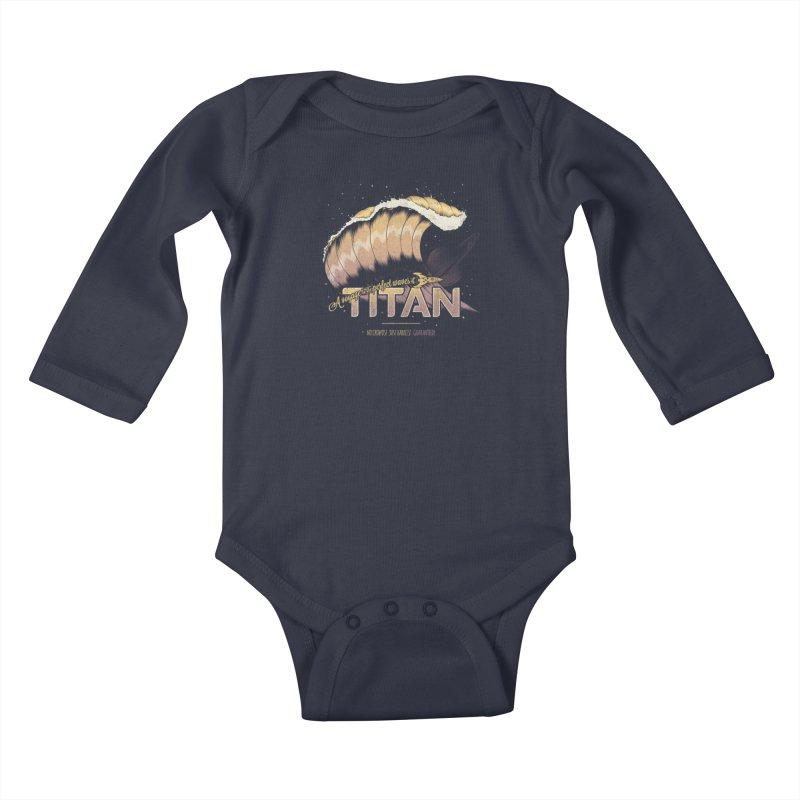 Surfing Titan Kids Baby Longsleeve Bodysuit by thirteen's Artist Shop