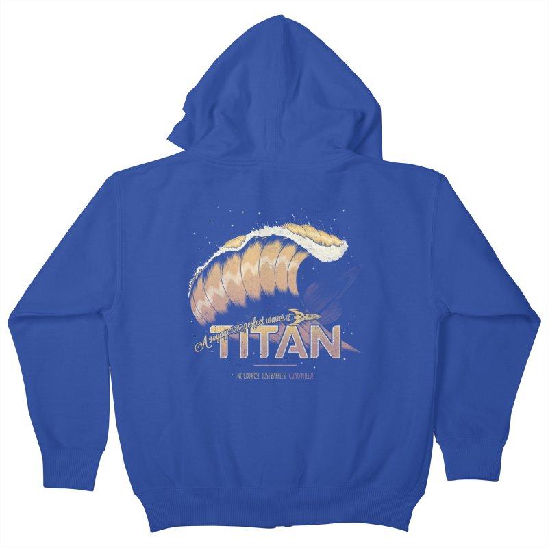 Surfing Titan Kids Zip-Up Hoody by thirteen's Artist Shop
