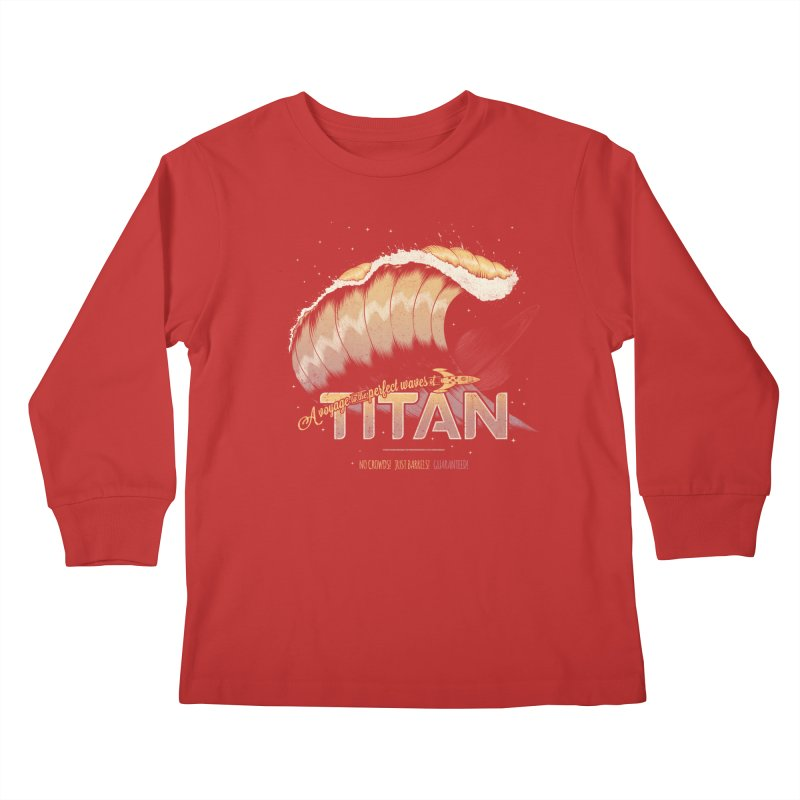 Surfing Titan Kids Longsleeve T-Shirt by thirteen's Artist Shop