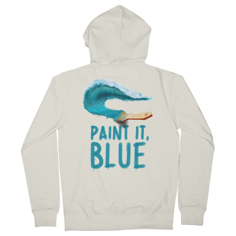 Paint It, Blue Men's French Terry Zip-Up Hoody by Bálooie's Artist Shop