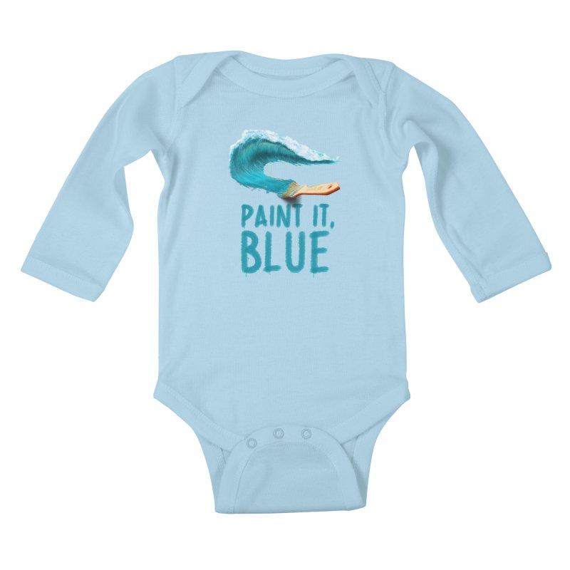 Paint It, Blue Kids Baby Longsleeve Bodysuit by Bálooie's Artist Shop