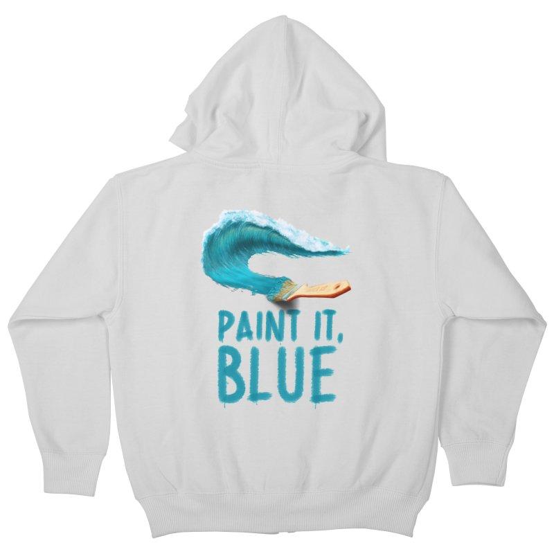 Paint It, Blue Kids Zip-Up Hoody by thirteen's Artist Shop