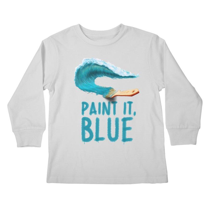 Paint It, Blue Kids Longsleeve T-Shirt by Bálooie's Artist Shop