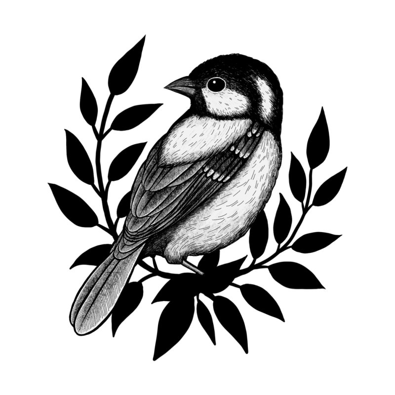 Coal Tit Men's T-Shirt by Thistle Moon Artist Shop