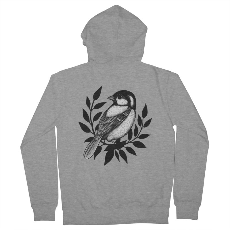 Coal Tit Men's French Terry Zip-Up Hoody by Thistle Moon Artist Shop