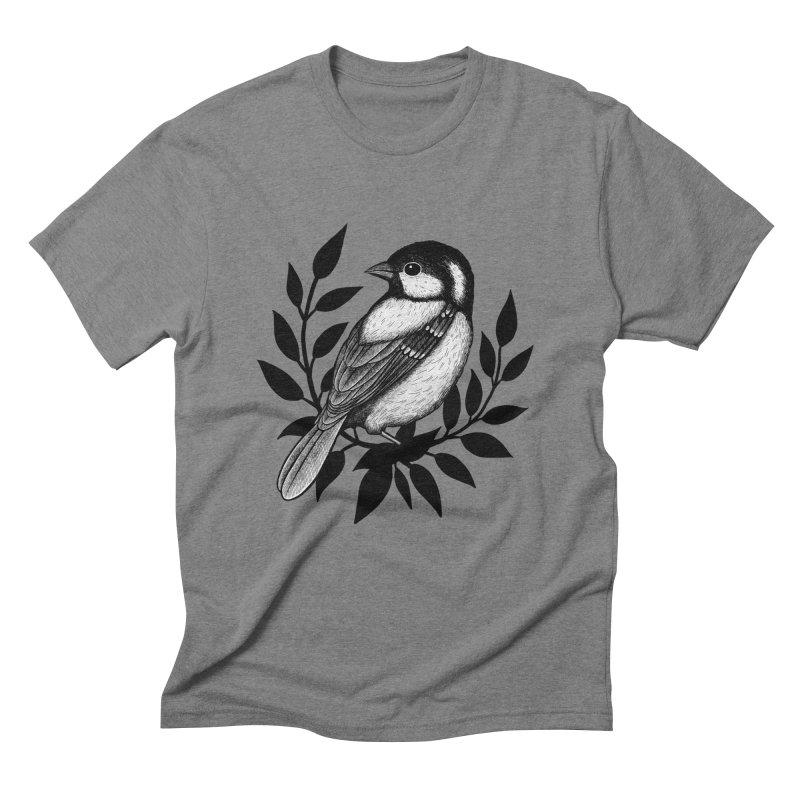 Coal Tit Men's Triblend T-Shirt by Thistle Moon Artist Shop