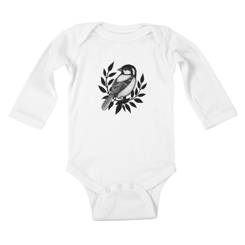 Coal Tit Kids Baby Longsleeve Bodysuit by Thistle Moon Artist Shop