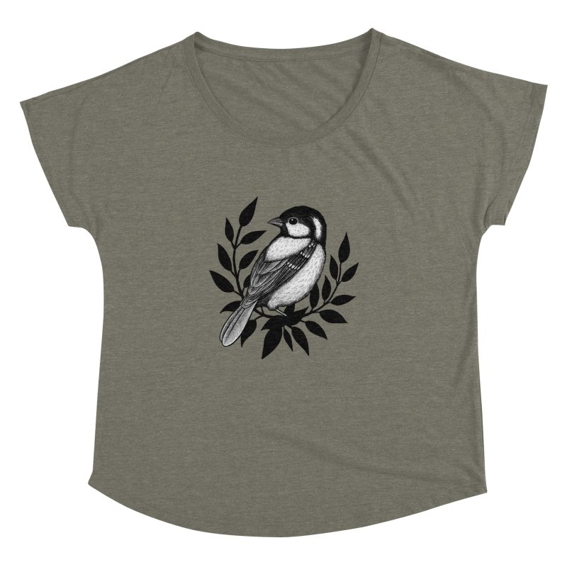 Coal Tit Women's Dolman Scoop Neck by Thistle Moon Artist Shop