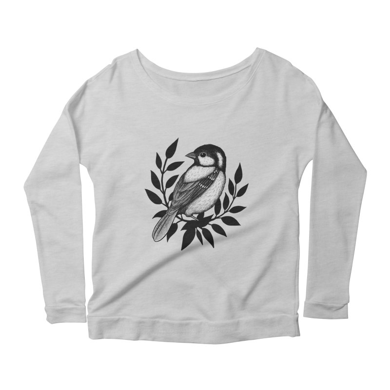 Coal Tit Women's Scoop Neck Longsleeve T-Shirt by Thistle Moon Artist Shop