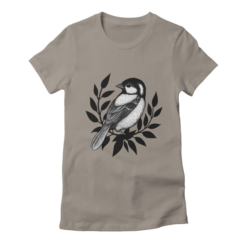 Coal Tit Women's Fitted T-Shirt by Thistle Moon Artist Shop