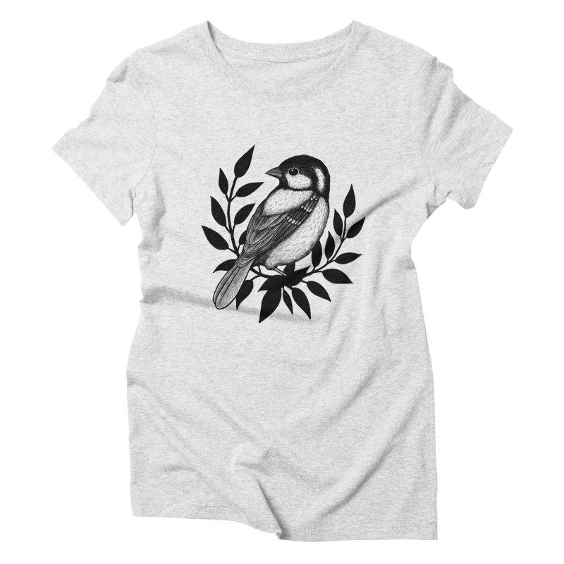 Coal Tit Women's Triblend T-Shirt by Thistle Moon Artist Shop