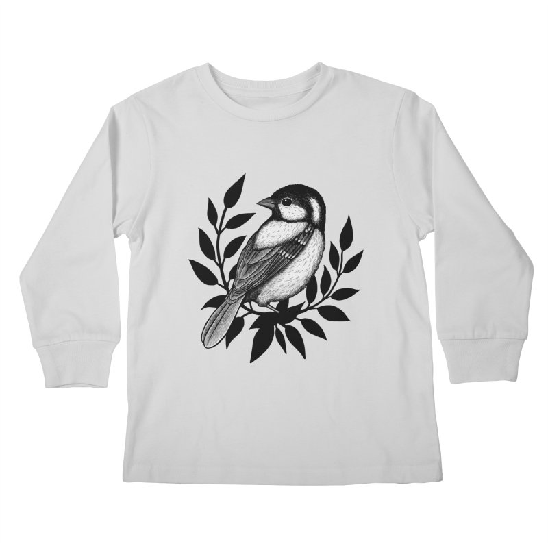 Coal Tit Kids Longsleeve T-Shirt by Thistle Moon Artist Shop