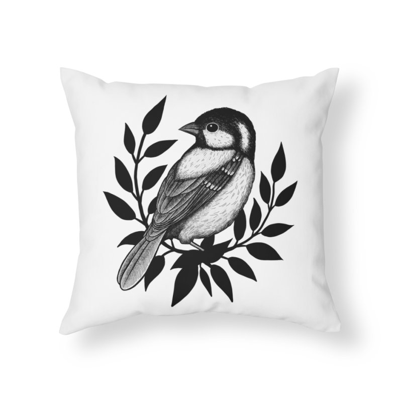 Coal Tit Home Throw Pillow by Thistle Moon Artist Shop