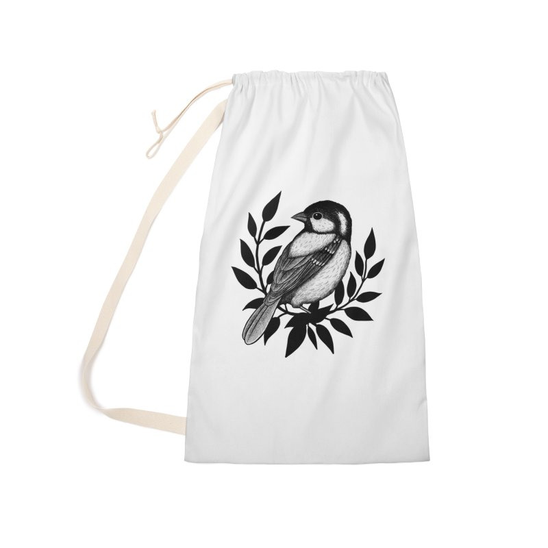 Coal Tit Accessories Laundry Bag Bag by Thistle Moon Artist Shop