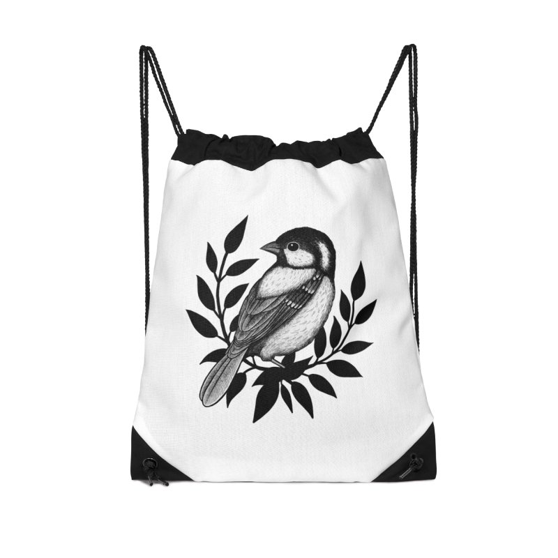Coal Tit Accessories Drawstring Bag Bag by Thistle Moon Artist Shop