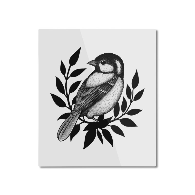Coal Tit Home Mounted Aluminum Print by Thistle Moon Artist Shop