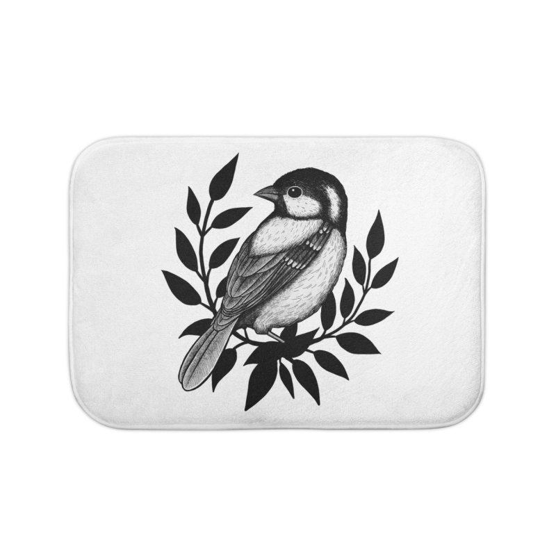 Coal Tit Home Bath Mat by Thistle Moon Artist Shop