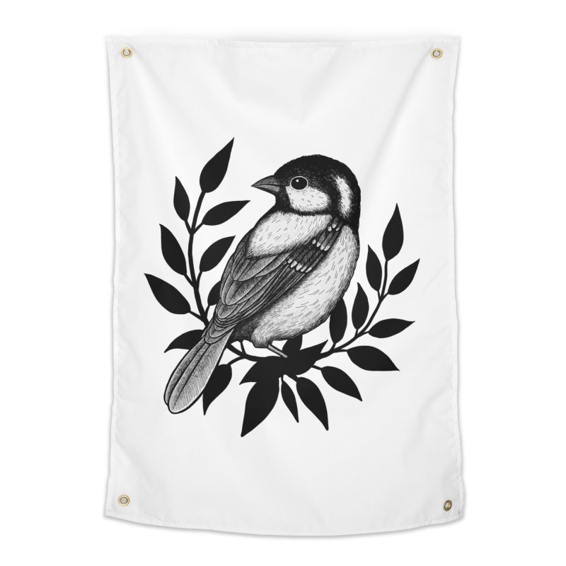 Coal Tit Home Tapestry by Thistle Moon Artist Shop