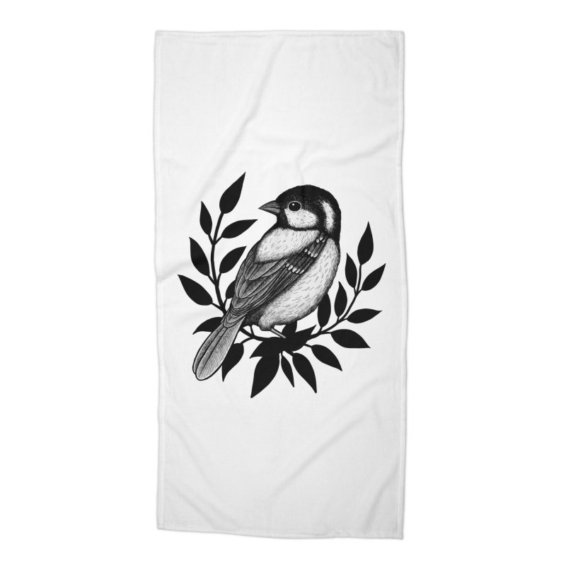Coal Tit Accessories Beach Towel by Thistle Moon Artist Shop